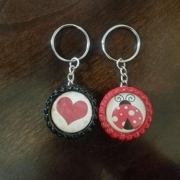 Heart & Ladybug Bottle Cap Keychains